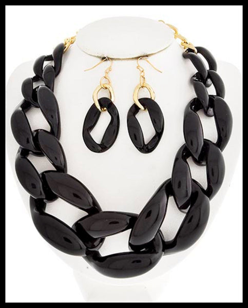 Black Acrylic Link Necklace