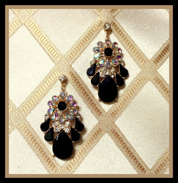 Black & Gold Iridescent Earrings