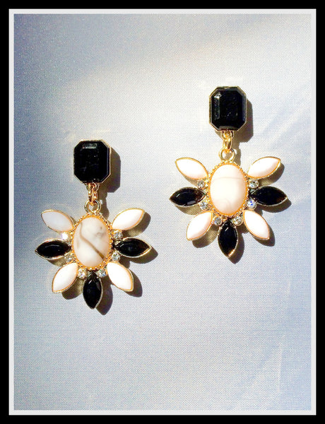 Black and White Flower Earrings