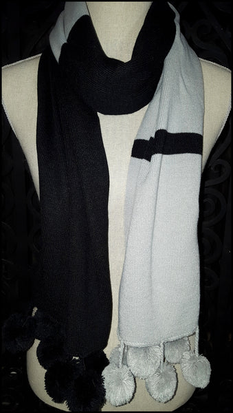 Black & Grey Scarf with Pom Poms