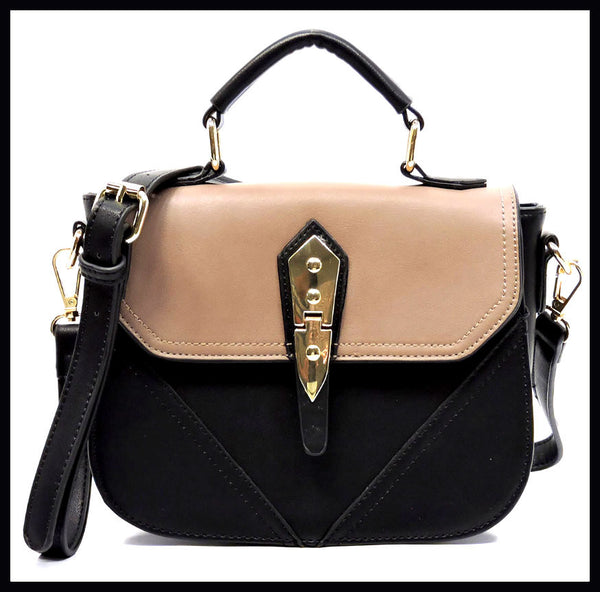 Colorblock Satchel Crossbody Bag