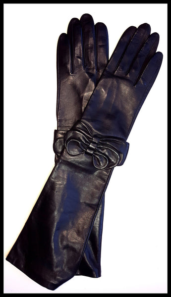 Fownes Black Bowed Leather Opera Gloves