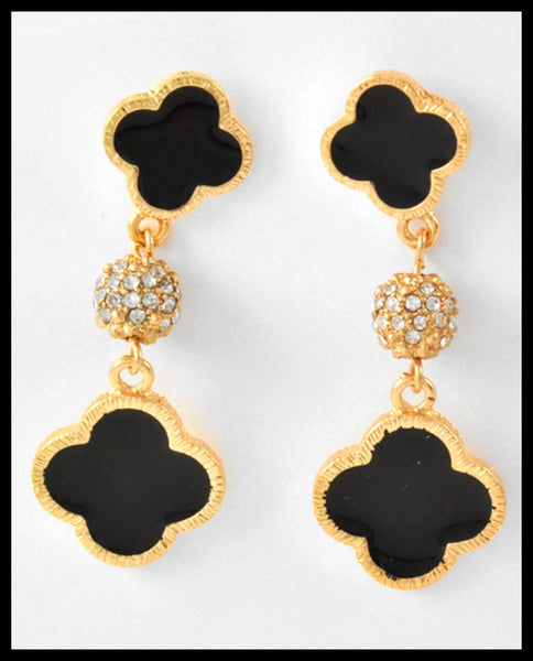 Black & Pavé Rhinestone Earrings