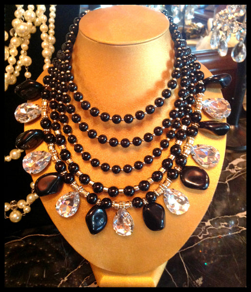 Multi-Strand, Gold/Black Pearl Necklace