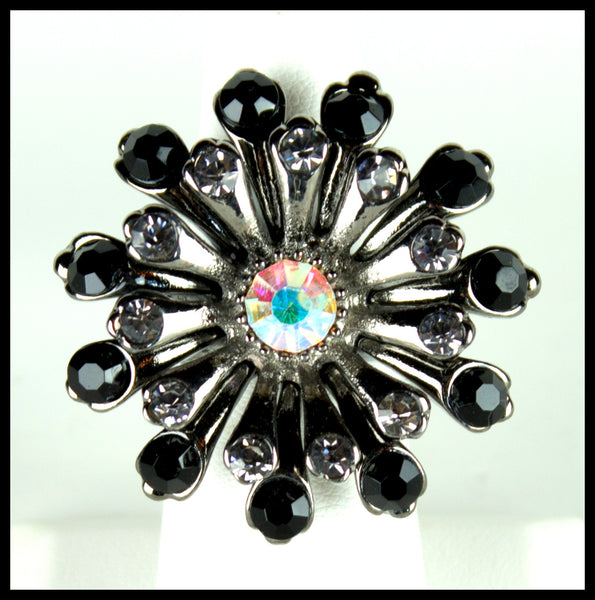 Silver Flower Ring With Crystals