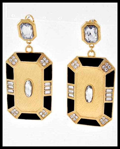 Gold/Black/Rhinestone Earrings