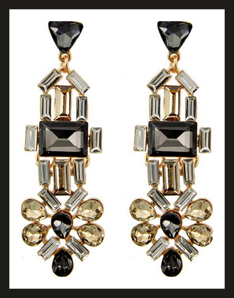 Black & Topaz Dangle Earrings