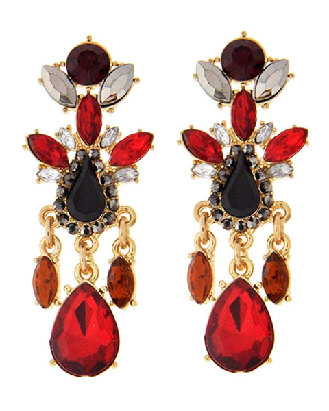 Red, Black & Amber Earrings