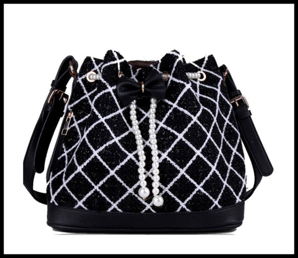 Black Fabric Check Handbag