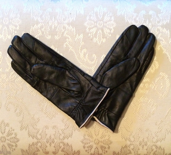 Black & White Leather Gloves