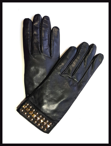 Black Leather/Gold Grommet Gloves