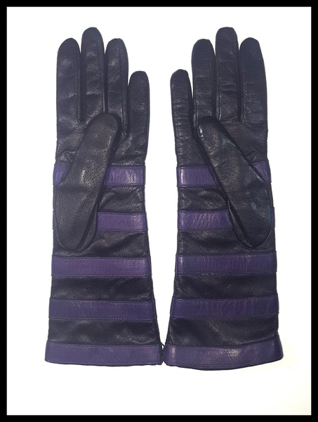 Portolano Black/Purple Stripe Leather Gloves Size 7