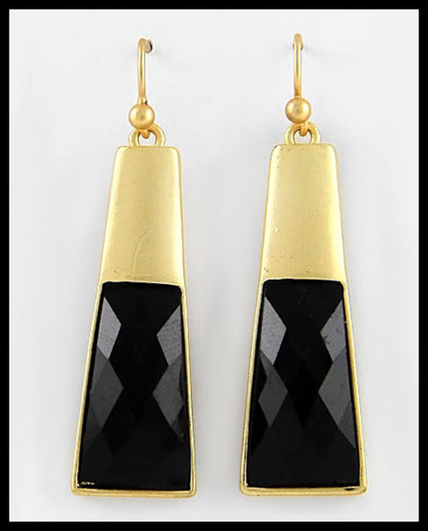 Gold & Black Dangle Earrings