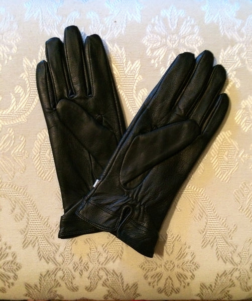 Black & White Belted Leather Gloves
