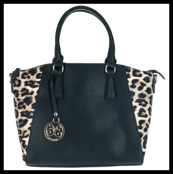Black/Leopard Printed Satchel