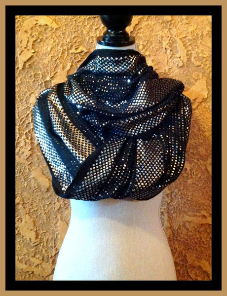 Black & Silver Infinity Scarf
