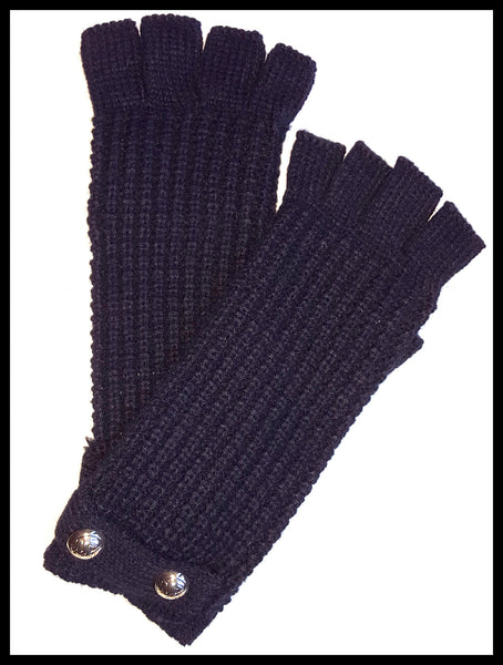 Michael Kors Black Knit Fingerless Gloves