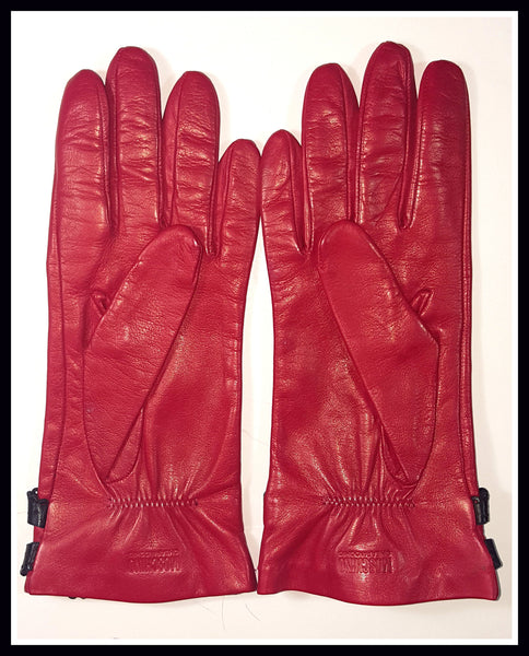Red/Black Leather Moschino Gloves Size 7