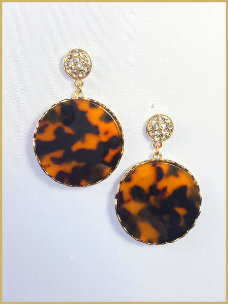 Round Tortoise Earrings with Crystals