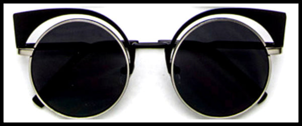 Black Iconic Round Cat Eye Sunglasses