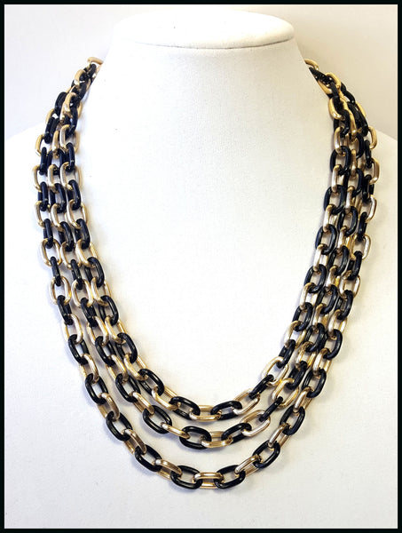 Black & Gold Triple Chain Link Necklace
