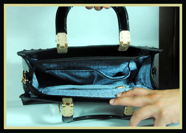 Black Patent Studded Tote