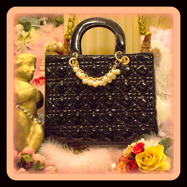 Qulited Black Tote with Hanging Pearls