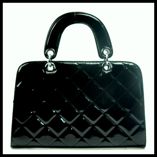 Black Quilted Patent Handbag