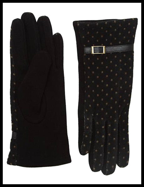 Black Polka-Dot Knit Gloves