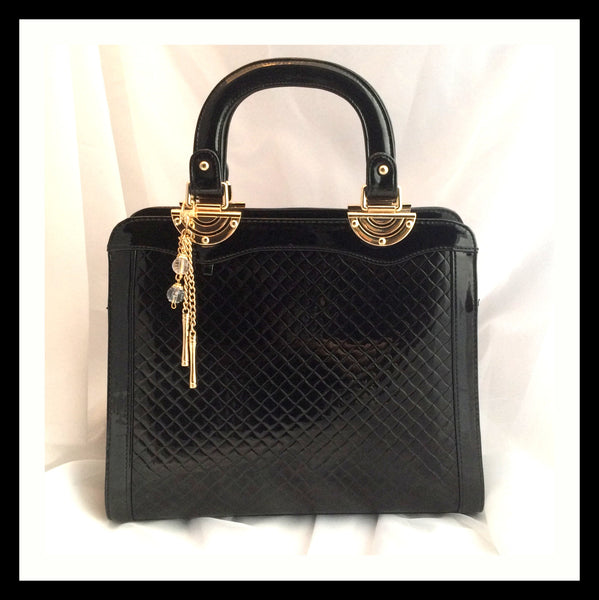 Black Patent Quilted Handbag