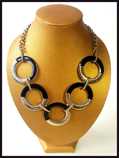 Brushed Gold & Black Enamel Necklace