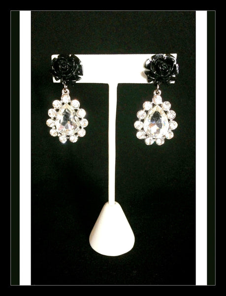 Black Rose & Crystal Earrings