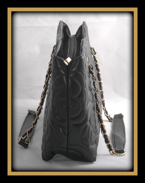 Black Lotus Flower Embossed Handbag