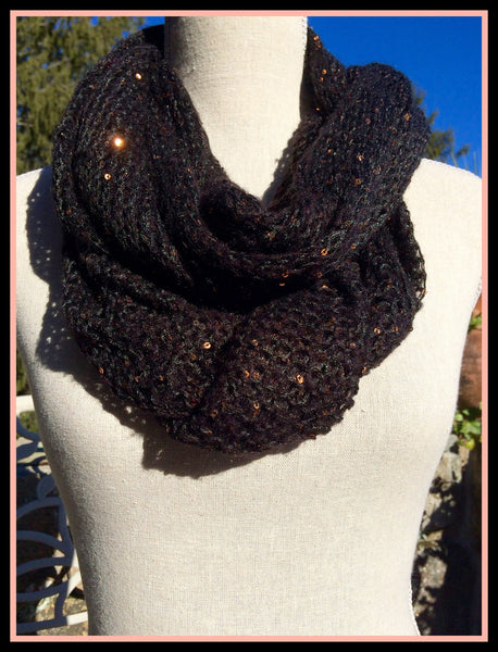 Black Sequined Infinity Scarf