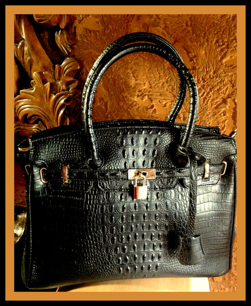 Black Alligator Embossed Tote