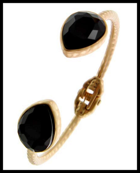 Gold/Black Glass Fold-Over Bracelet