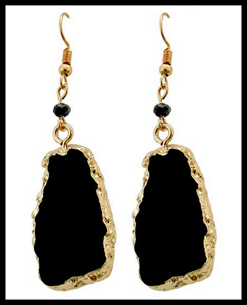 Black Crystal & Semi-Precious Stone Earrings
