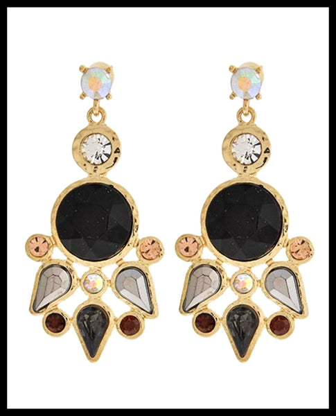 Black Sunburst Earrings