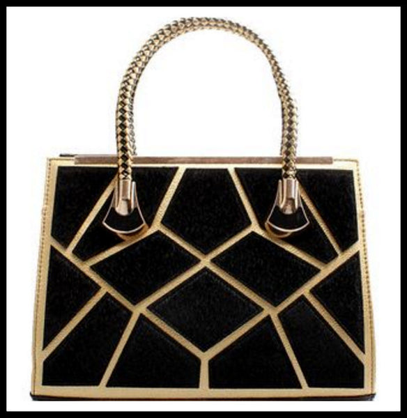 Black/Gold Velveteen Handbag