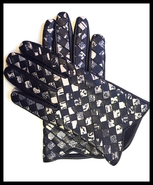 Black Snakeskin Print Gloves