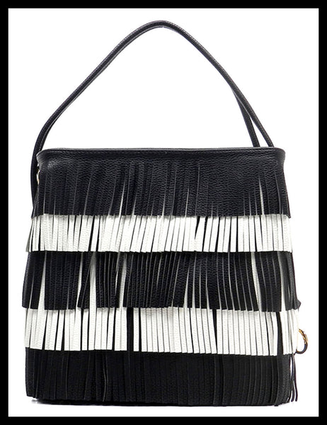 Black & White Fringe Handbag