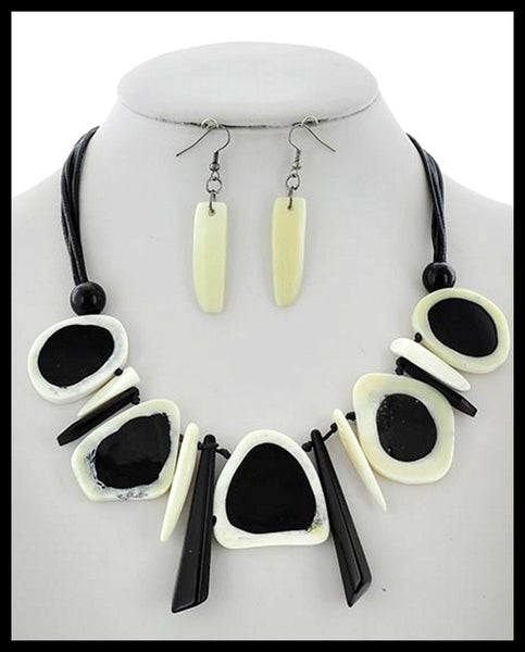 Black & White Stone Necklace & Earrings