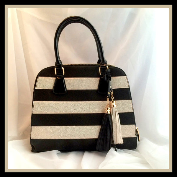 Black & White Gold Striped Handbag
