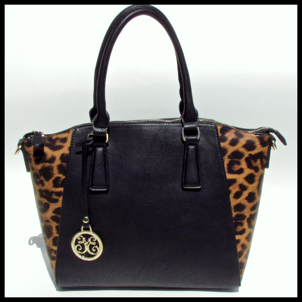 Brown Leopard Print & Black Accented Satchel