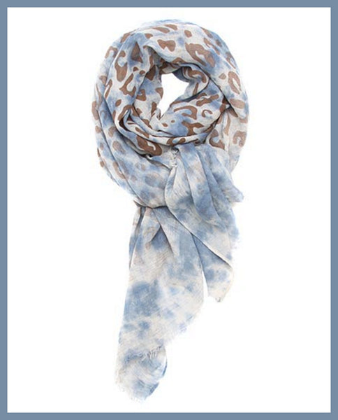 Blue/Brown Animal Print Scarf