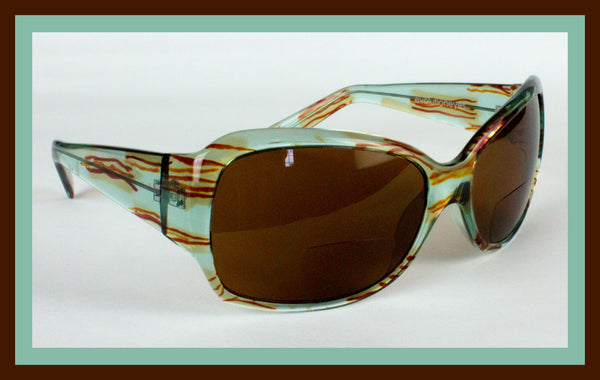 Turquoise & Brown Magnifying Sunglasses