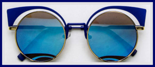 Blue Iconic Round Cat Eye Sunglasses