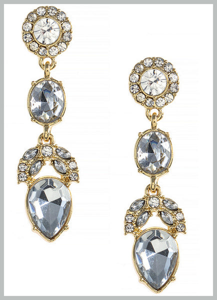Tiered Crystal Accent Long Earrings