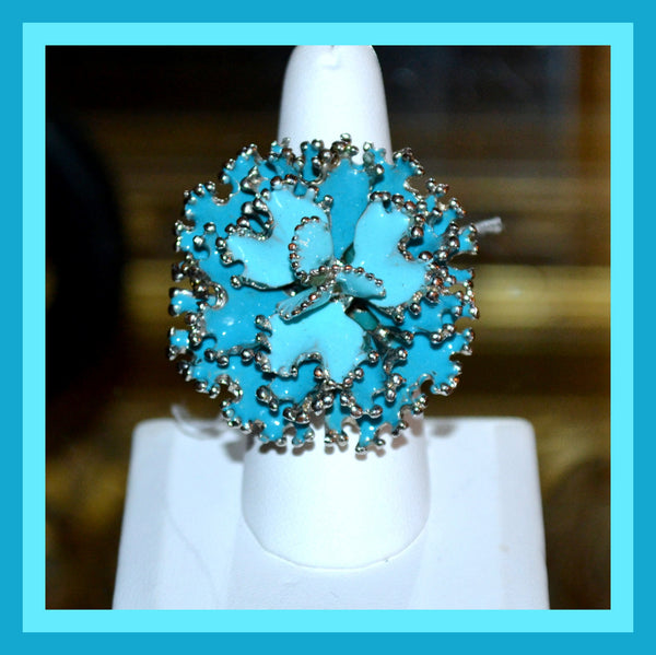 Blue Enamel Flower Ring