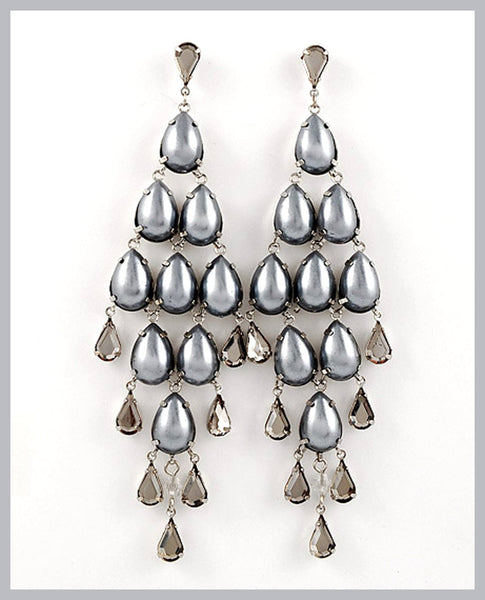 Light Grey Pearl Dangle Earrings